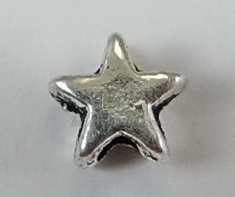 """Бусина металлическая """"Звездочка"""" (цвет - античное серебро) , 6х6 мм, 10 штук"""