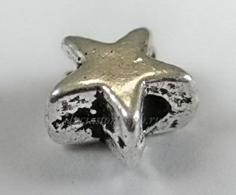 """Бусина металлическая """"Звездочка"""" 6х6 мм (цвет - античное серебро), 10 штук"""