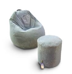 Комплект кресло груша Оливковая и пуф бочка