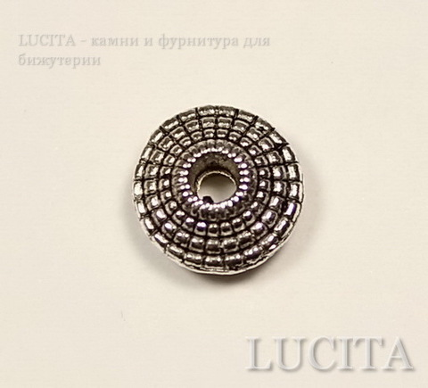 Бусина металлическая - рондель (цвет - античное серебро) 8х3 мм, 10 штук ()