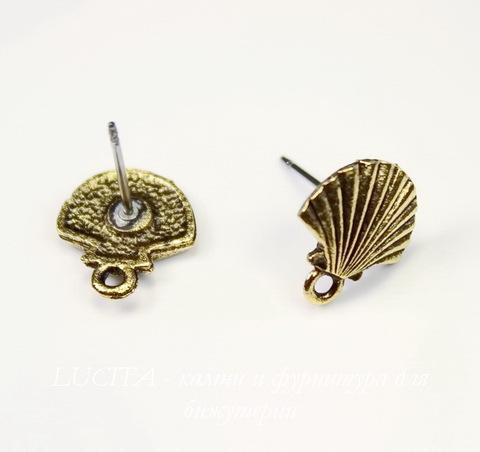 "Пуссеты - гвоздики Quest Beads ""Ракушка"" 12х11 мм (цвет-античное золото)(без заглушек), пара"