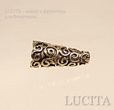 Шапочка - конус для бусины с узором 18х9х9 мм (цвет - античное золото)