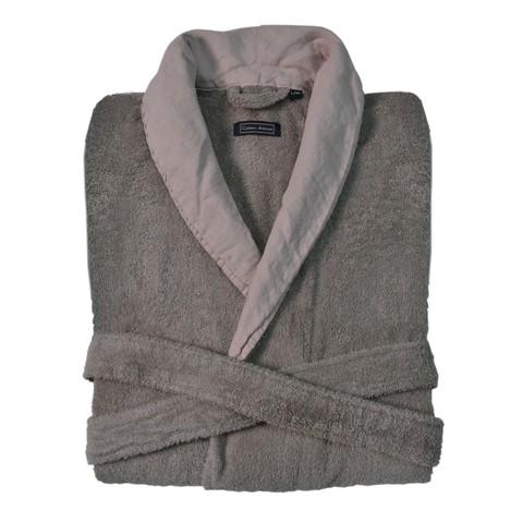 Элитный халат махровый Hampton серо-коричневый с розовым от Casual Avenue