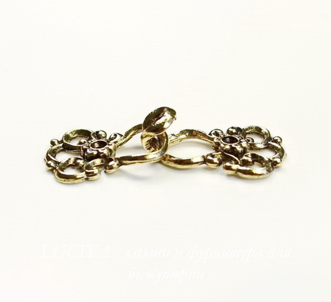 "Замок - крючок из 2х частей Quest Beads ""Цветок"" (цвет-античное золото) 22х15 мм, 19х15 мм"