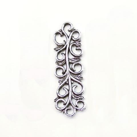 """Коннектор Quest Beads """"Арабеска"""" (цвет-античное серебро) 32х10 мм"""
