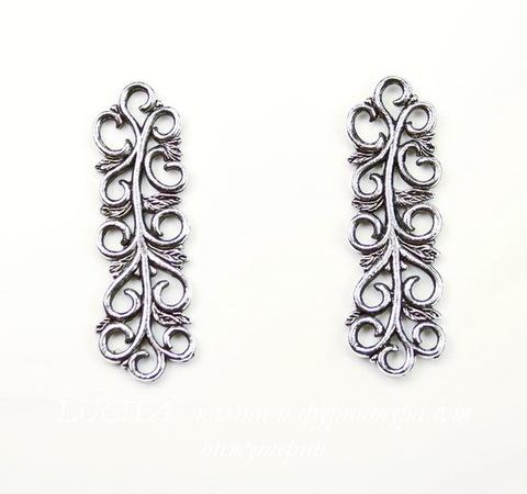 """Коннектор Quest Beads """"Арабеска"""" 32х10 мм (цвет-античное серебро)"""