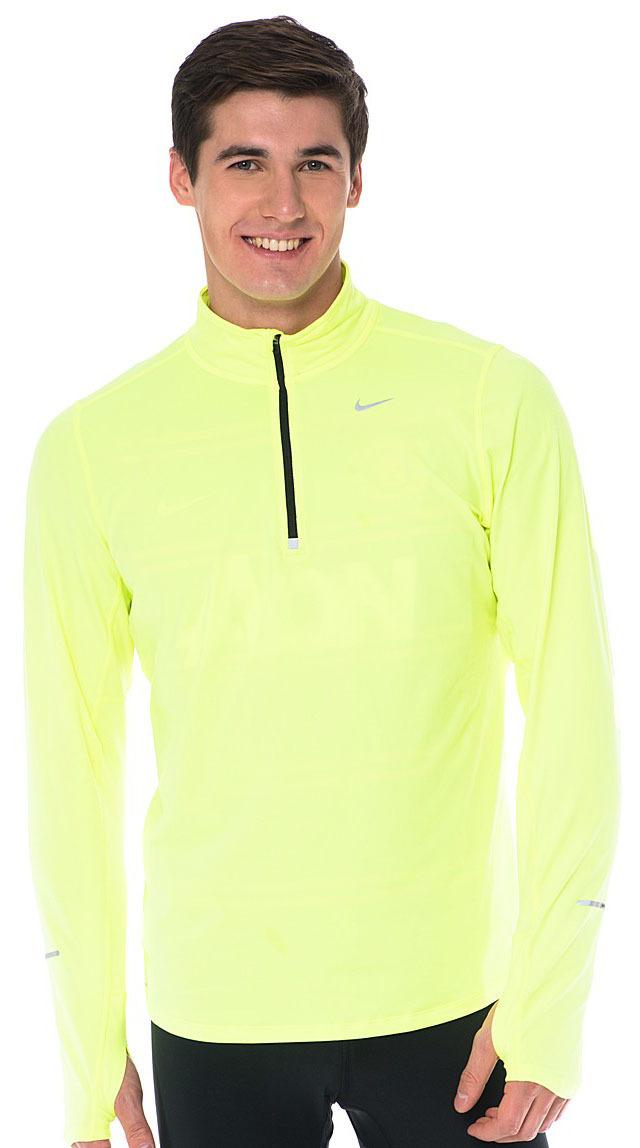 Мужская беговая футболка Nike Element 1/2 Zip LS (504606 703) салатовая