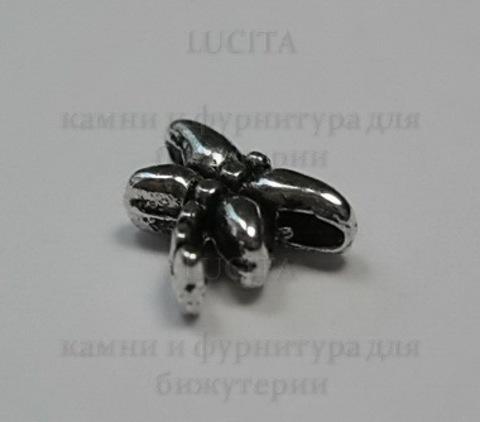 """Бусина металлическая - """"Стрекоза""""  8х6 мм (цвет - античное серебро), 10 штук ()"""