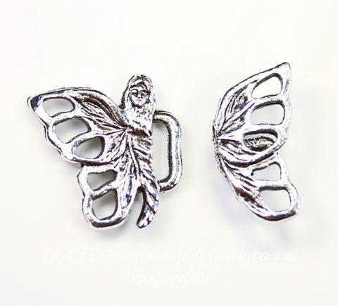 """Замок - крючок из 2х частей Quest Beads """"Фея-бабочка"""" (цвет-античное серебро) 17х17 мм, 17х9 мм"""