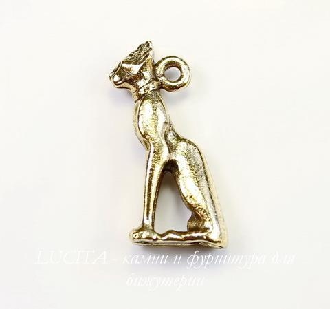 "Подвеска Quest Beads ""Египетская кошка"" 3D (цвет-античное золото) 20х9 мм"