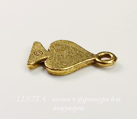"""Подвеска Quest Beads """"Пиковая масть"""" (цвет-античное золото) 16х10 мм"""