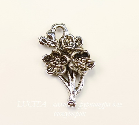 """Подвеска Quest Beads """"Сакура"""" (цвет-античное серебро) 21х11 мм"""
