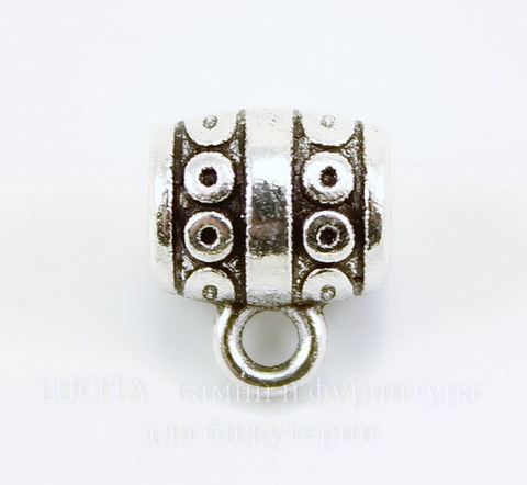 """Бейл """"Кружочки"""" (цвет - античное серебро) 10х9 мм"""