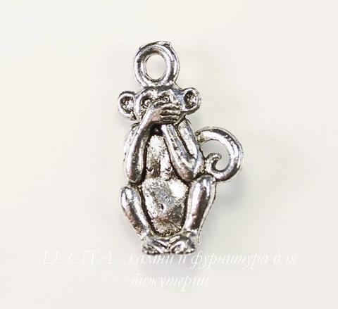 """Подвеска Quest Beads """"Ничего не скажу"""" (цвет-античное серебро) 19х12 мм"""