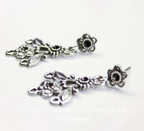 """Пуссеты - гвоздики с подвеской Quest Beads """"Цветы"""" 35х19 мм (цвет-античное серебро)(без заглушек), пара"""