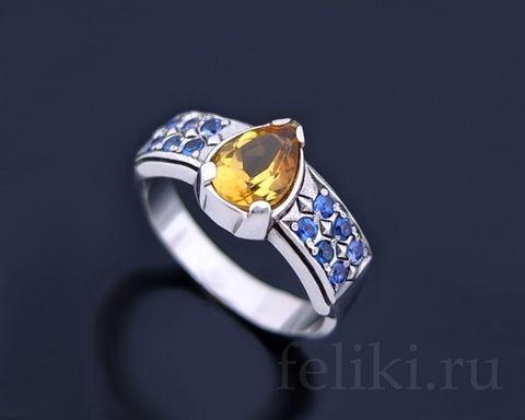 серебряное кольцо с натуральным цитрином