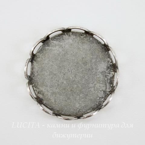Сеттинг - основа для камеи или кабошона 15 мм (оксид серебра)