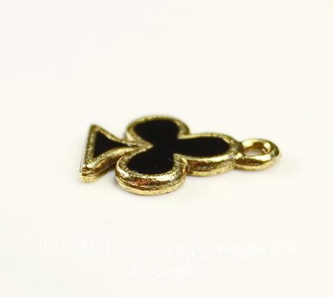 """Подвеска Quest Beads """"Трефовая масть"""" (цвет-античное золото) 16х12 мм"""