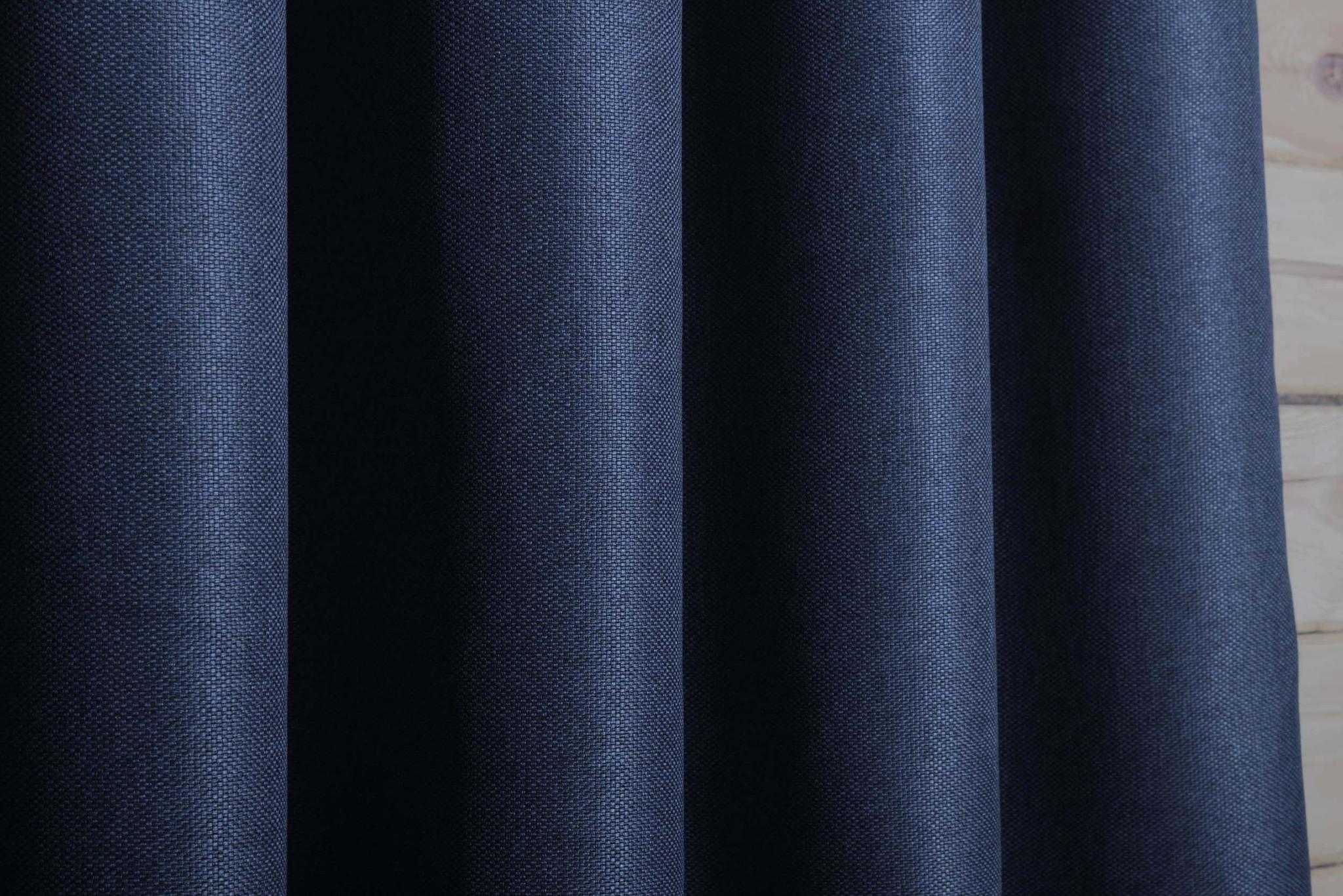 Готовая штора. Портьера под  лён Oxford (синий)