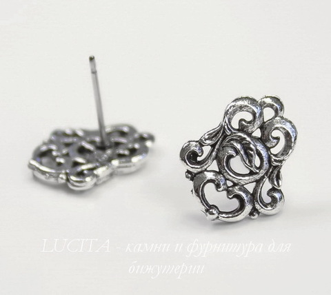 "Пуссеты - гвоздики Quest Beads ""Флоренция"" 15х12 мм (цвет-античное серебро)(без заглушек), пара"