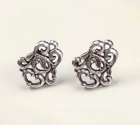 "Пуссеты - гвоздики Quest Beads ""Флоренция"" 15х12 мм (цвет-античное серебро)(без заглушек), пара ()"