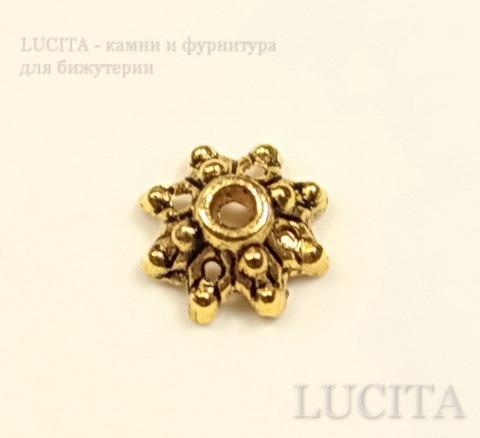 """Шапочка для бусины """"Цветочек - 2"""" (цвет - античное золото) 8х8х3 мм, 10 штук ()"""
