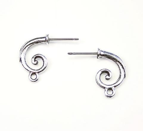 """Пуссеты - гвоздики Quest Beads """"Спираль"""" 17х3 мм (цвет-античное серебро)(без заглушек), пара"""