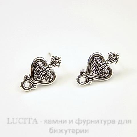 """Пуссеты - гвоздики Quest Beads """"Королевское сердце"""" 17х10 мм (цвет-античное серебро)(без заглушек), пара"""