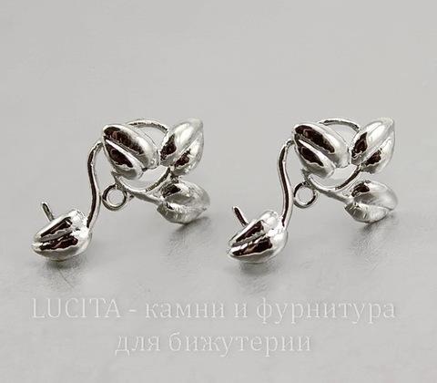 """Пуссеты - гвоздики """"Веточки"""" (цвет - античное серебро) 18х9 мм (с заглушками) ()"""