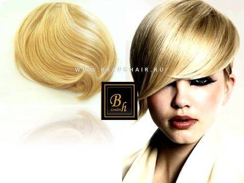 Накладная челка оттенок  #24-солнечный блонд  с закругленным концом на 3 клипсы