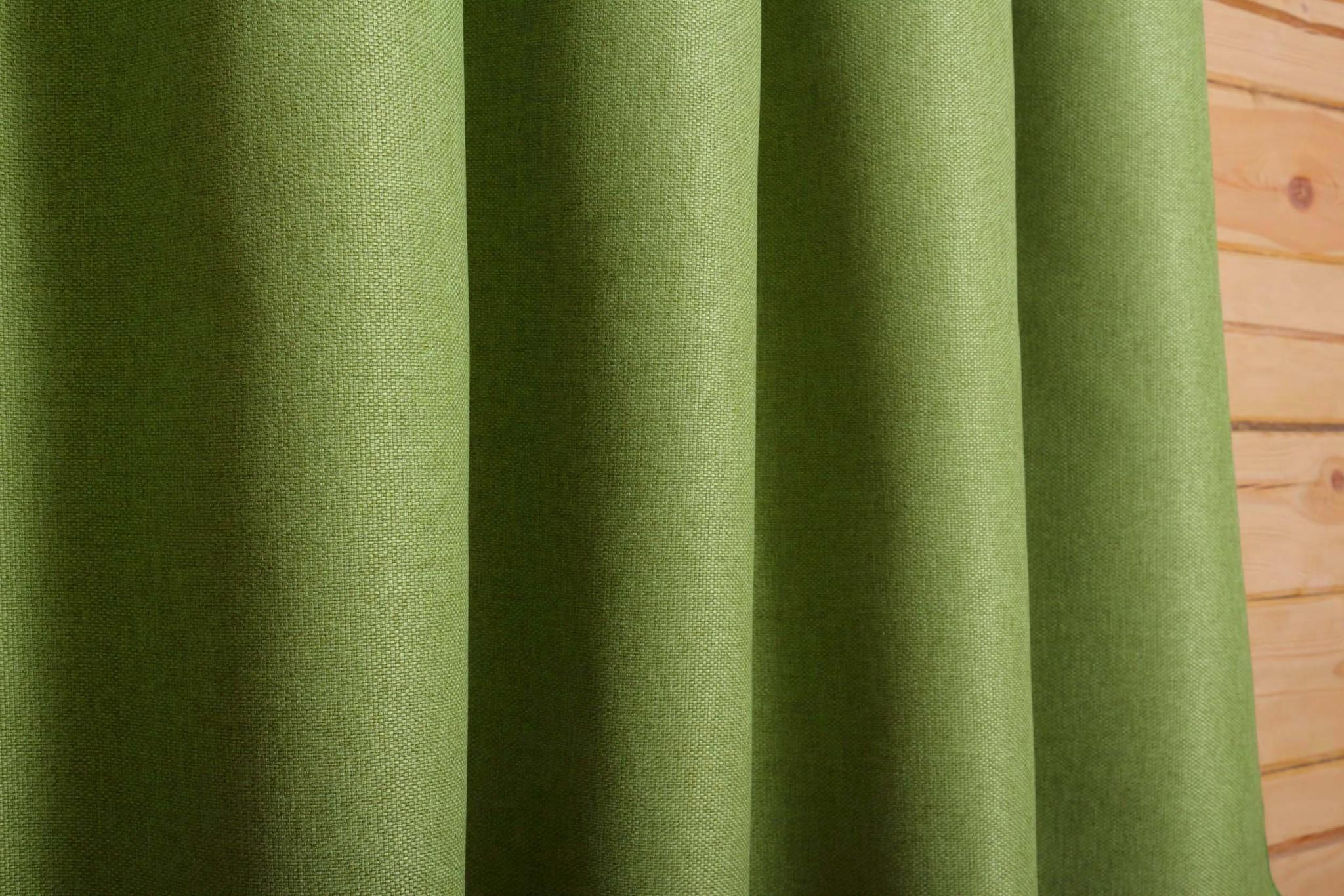 Готовая штора. Портьера под  лён Oxford (весенняя зелень)