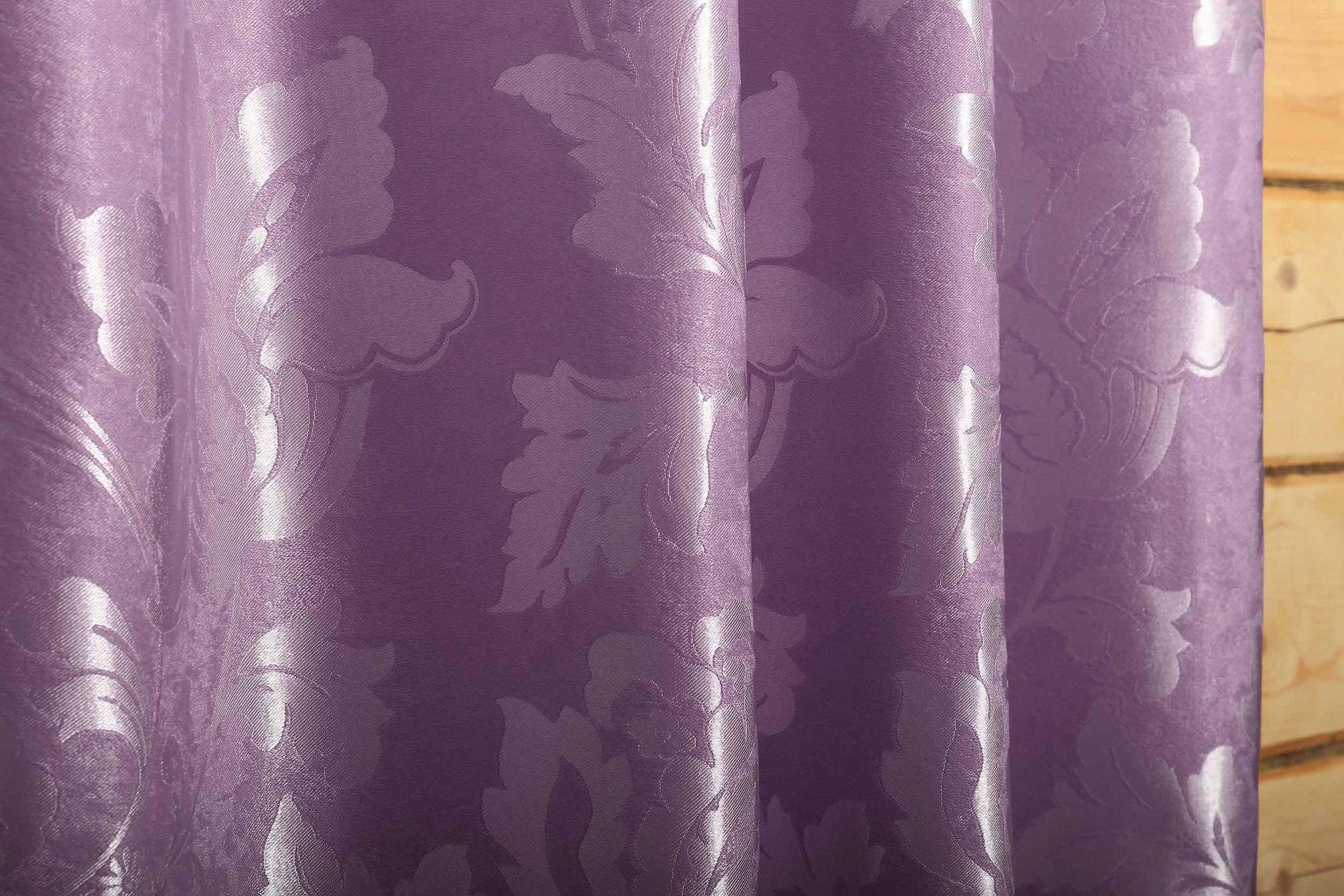 Марселла (сиреневый). Штора блэкаут шенил с растительным орнаментом из атласа.