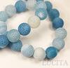Бусина Агат цветочный матовый (тониров), шарик, цвет - голубой, 10 мм, нить