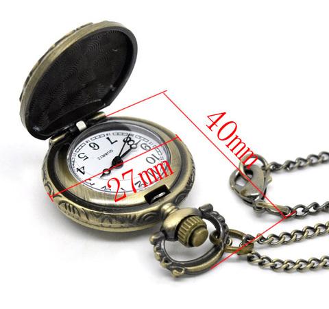 """Часы на цепочке """"Бабочка"""" (цвет - античная бронза) 40х27Х12 мм ()"""