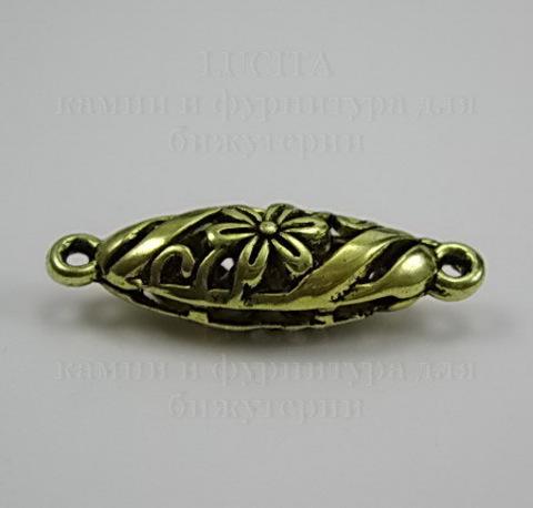 """Коннектор """"Ажурный овал"""" (1-1) 30х9 мм (цвет - античное золото)"""