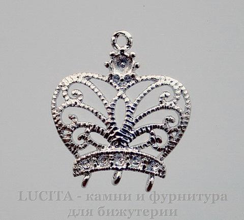 """Коннектор """"Корона"""" (1-3) 18х12 мм (цвет - платина)"""