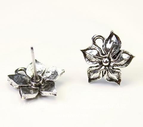 "Пуссеты - гвоздики Quest Beads ""Жасмин"" 15х14 мм (цвет-античное серебро)(без заглушек), пара ()"