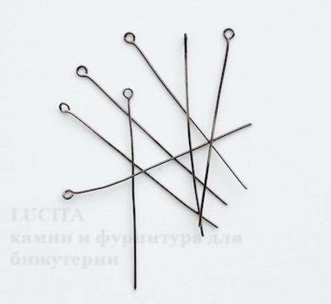 Комплект штифтов с петлей (цвет - черный никель) 60х0,7 мм, примерно 300 штук ()