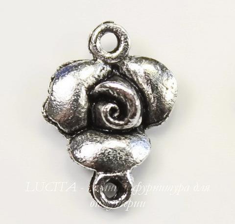 "Коннектор Quest Beads ""Роза"" (1-1) 14х10 мм (цвет - античное серебро)"