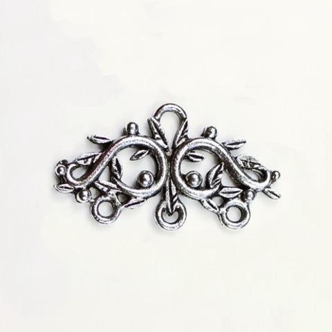 "Коннектор Quest Beads ""Веточки"" (1-3) 29х17 мм (цвет-античное серебро)"