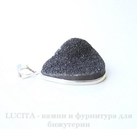 Подвеска Кварц в рамке (цвет - античное серебро) 40,2х25,5х17 мм №28 ()