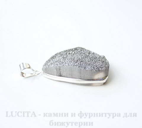 Подвеска Кварц в рамке (цвет - античное серебро) 41х32,6х11,6 мм №24 ()