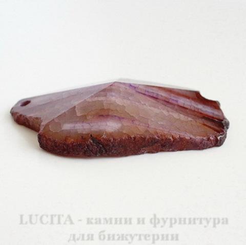 Подвеска Агат (цвет - дымчато-коричневый) 62,5х39,6х13,4 мм №6 ()