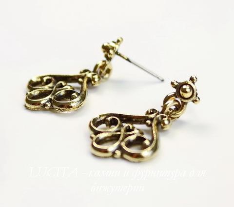 """Пуссеты - гвоздики с подвеской Quest Beads """"Эльза"""" 26х17 мм (цвет-античное золото)(без заглушек), пара"""