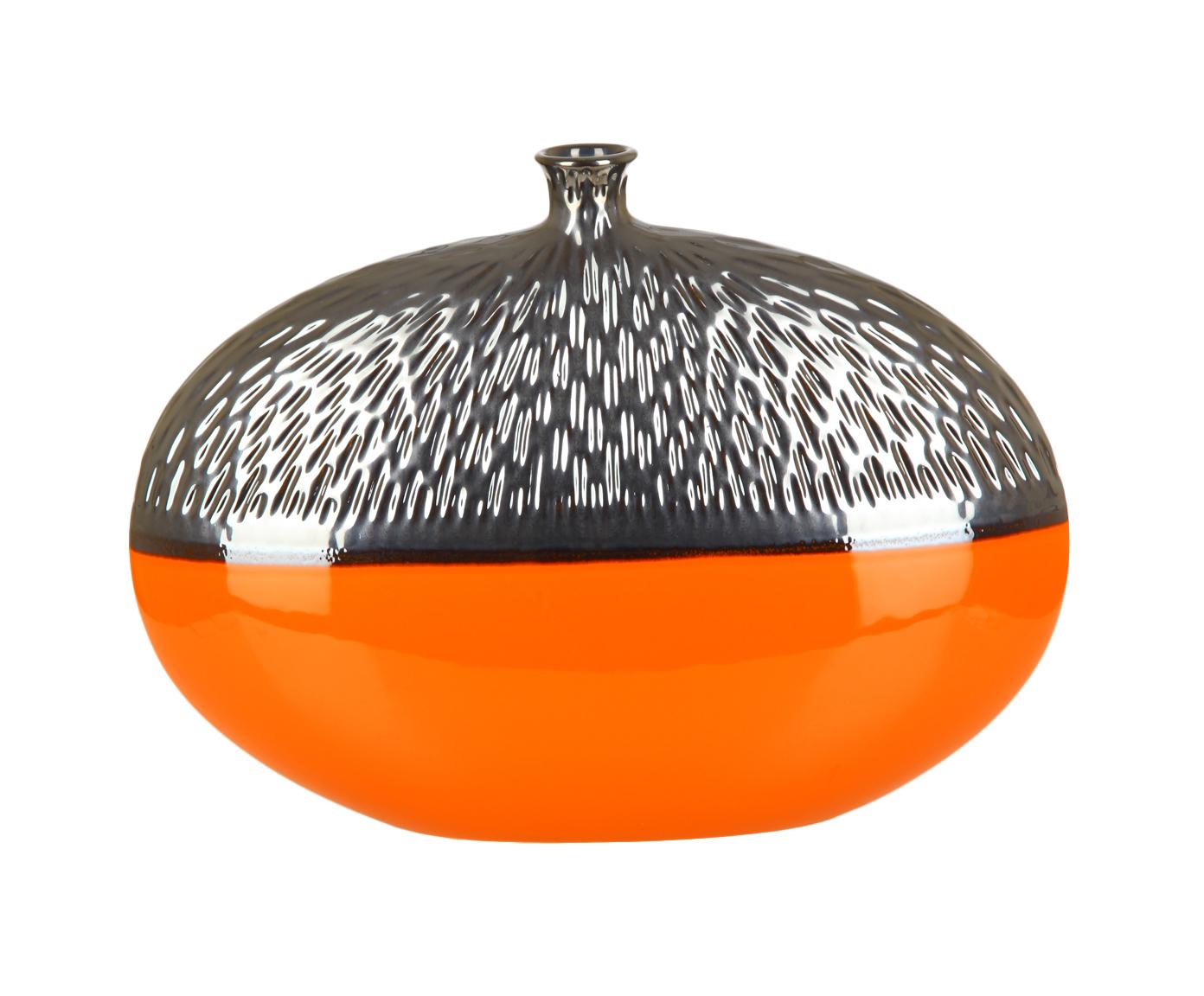 Вазы настольные Элитная ваза декоративная Copperfield большая оранжевая от Sporvil vaza-dekorativnaya-bolshaya-copperfield-serebro-s-oranzhevym-ot-sporvil-portugaliya.jpg