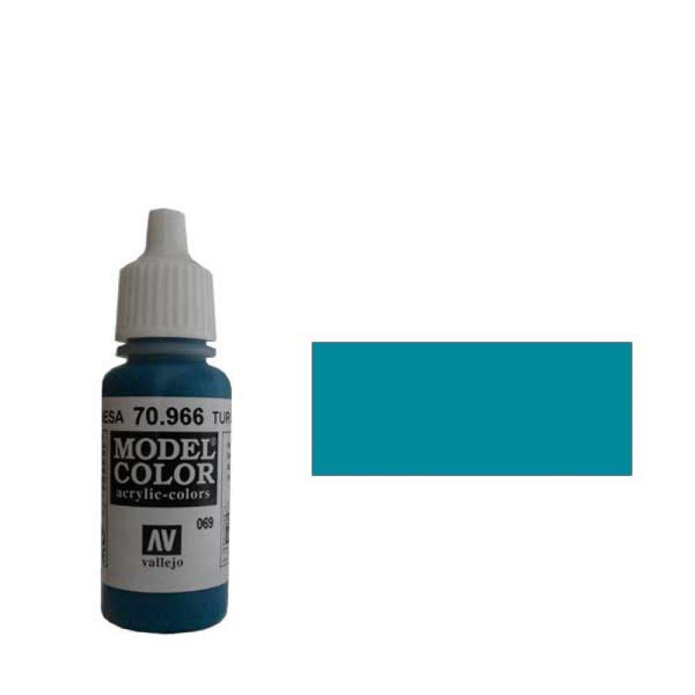 069. Краска Model Color Бирюзовый 966 (Turquoise) укрывистый, 17мл