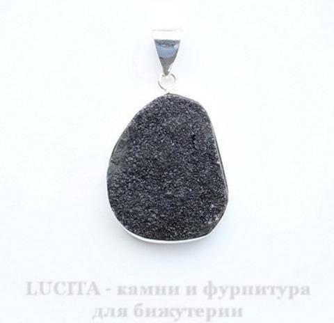 Подвеска Кварц в рамке (цвет - античное серебро) 33,7х23х11 мм №37 ()
