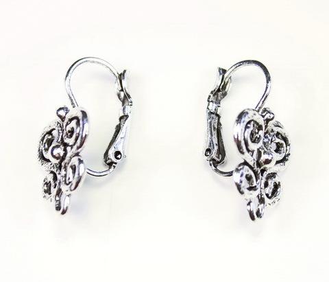 """Швензы с французским замком Quest Beads """"Серенада"""" 23х14 мм (цвет-античное серебро), пара"""