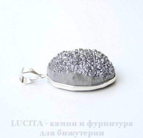 Подвеска Кварц в рамке (цвет - античное серебро) 36,3х24,5х11 мм №42 ()