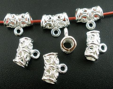 Бейл ажурный 11х5 мм (цвет - серебро) (B03077C)